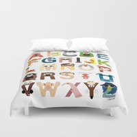 alone Duvet Covers featuring Muppet Alphabet by Mike Boon