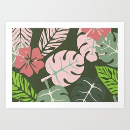 Tropical leaves green and pink paradises Art Print