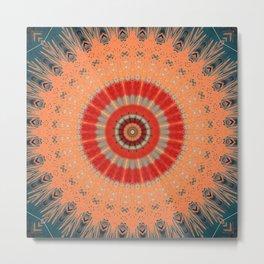 Orange Blue Delicate Mandala Design Metal Print