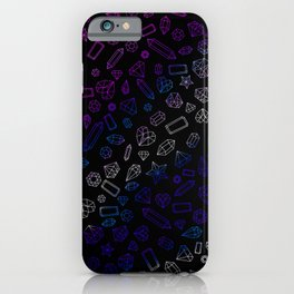Holographic Gems Pattern Black iPhone Case