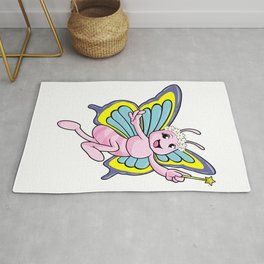 Butterfly with Magic wand and Wreath of Flowers Rug