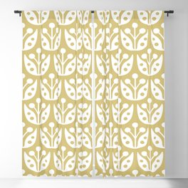 Mid Century Modern Flower Pattern Gold 2 Blackout Curtain
