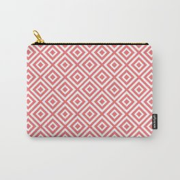 Geometric Diamond Pattern Honey Suckle Pink Carry-All Pouch