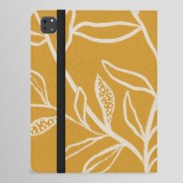 Yellow Patterned Leaves iPad Folio Case