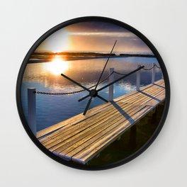 Sunrise Over Pool Wall Clock