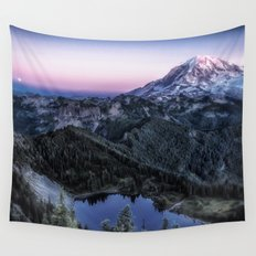 Mountain and Full Moon Wall Tapestry