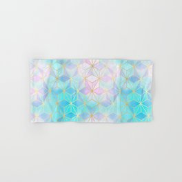 Iridescent Glass Geometric Pattern Hand & Bath Towel