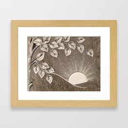 Sun and Tree Carved Stone Framed Art Print