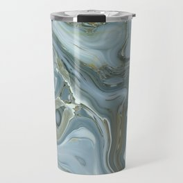 Precious Teal Blue Gemstone Agate Collage Travel Mug