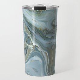 Precious Teal Blue Gemstone Agate Collage Travel Mug