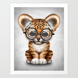 Cute Baby Tiger Cub Wearing Eye Glasses on White Art Print