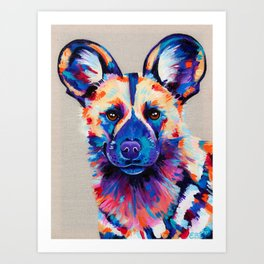 Painted Hunting Dog / African wild dog Art Print