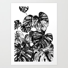 Tropical Monstera Leaves Black and White Art Print