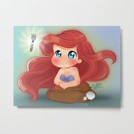 Ariel Little Mermaid Chibi Metal Print