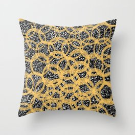 Abstract Beehive Yellow & Black Pattern Throw Pillow