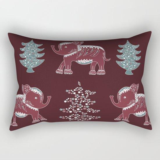 Elephants, trees and flowers Rectangular Pillow