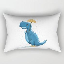 Dino in the Rain Illustration Rectangular Pillow