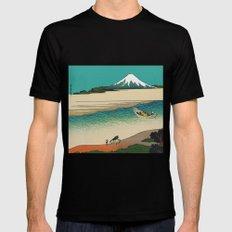 Tama River and Mount Fuji MEDIUM Black Mens Fitted Tee