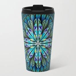 Blue fantasy flower and petals Travel Mug