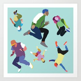 Jump pattern (Teal) Art Print