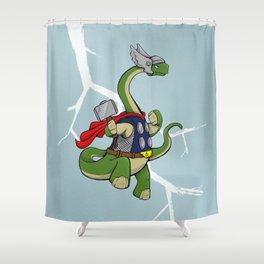 "Bronto""THOR""us - God of Thunder Lizards Shower Curtain"