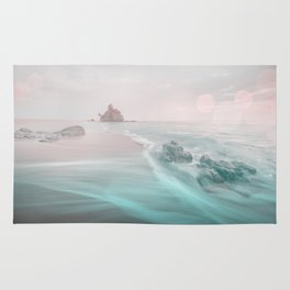 Dreamy Beach In Pink And Turquoise Rug