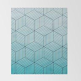 Cubism Teal Throw Blanket