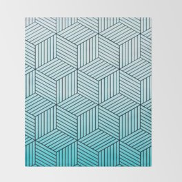 Cubism Teal Throw Blanket
