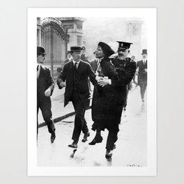 Suffragette Emmeline Pankhurst Being Arrested (May 1914) Art Print