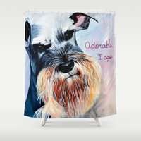 schnauzer Shower Curtains featuring Schnauzer, Salt and Pepper  by A Calcines