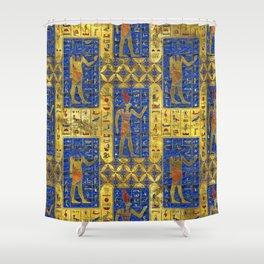 Egyptian  Gold  symbols on Lapis Lazuli Shower Curtain