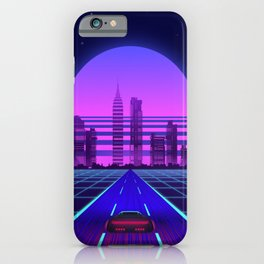 Synthwave Aesthetic Vaporwave Retro 80s 90s car iPhone Case