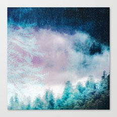 Galaxy Forest 4 - Blue Stars and Space Trees Canvas Print
