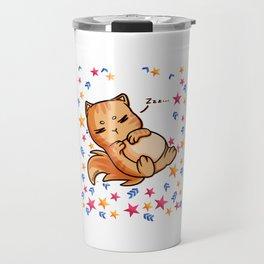 lazy cat chilling star Travel Mug