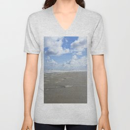 Cloudy seascape panorama Unisex V-Neck