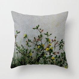 Minimal flora - yellow daisies wild flowers Throw Pillow