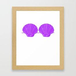 Mermaid Seashell Bra Purple Funny Brassiere Summer Framed Art Print
