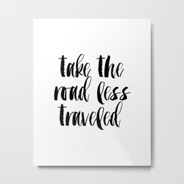 "Typographic Travel Quote Print World Map Poster ""Take the Road Less Traveled"" Metal Print"
