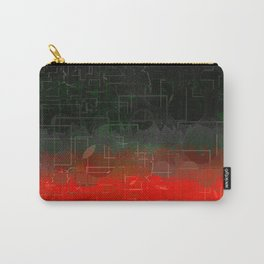 Dark Red Black Emerald  Multi-Pattern Overlay Design Carry-All Pouch