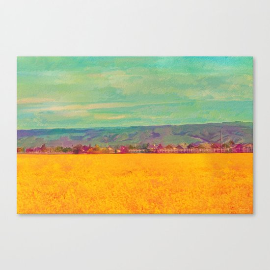 Teal Sky, Indigo Mountains, Mustard Plants, Colorful Houses Canvas Print