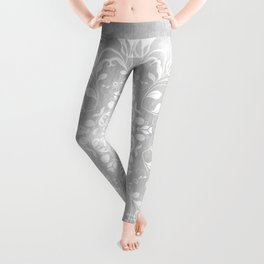 white on gray mandala design Leggings