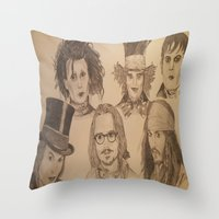 johnny depp Throw Pillows featuring Johnny Depp by Virginieferreux