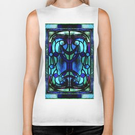 Blue and Aqua Stained Glass Victorian Design Biker Tank