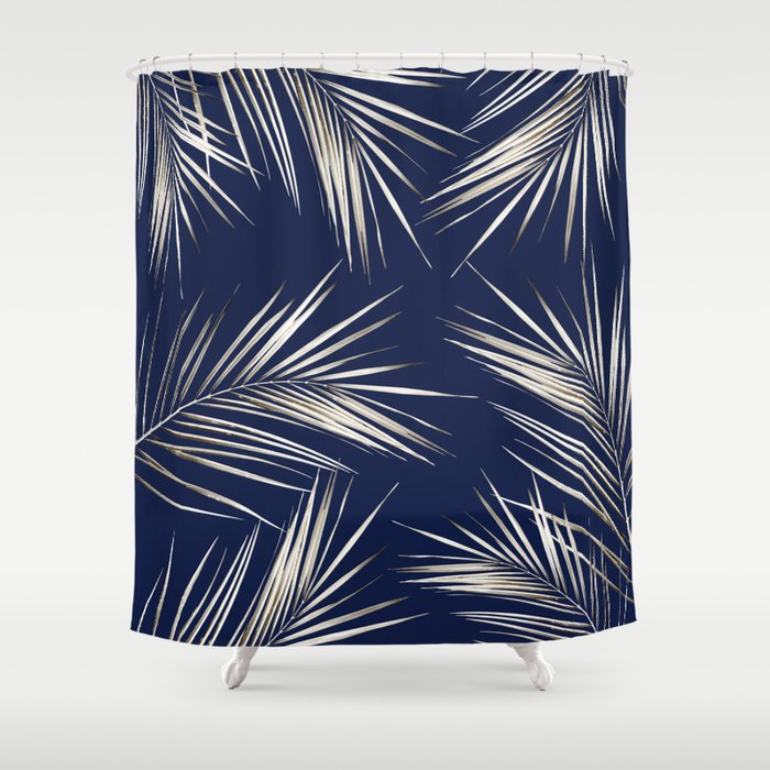 White Gold Palm Leaves On Navy Blue Shower Curtain