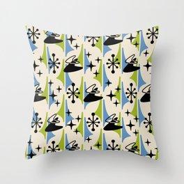 Mid Century Modern Cosmic Boomerang 726 Black Blue and Green Throw Pillow