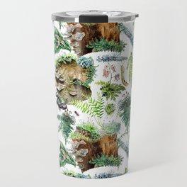 Mossy Forest Pattern White Travel Mug