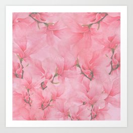 Blush pink green watercolor orchids flowers  Art Print