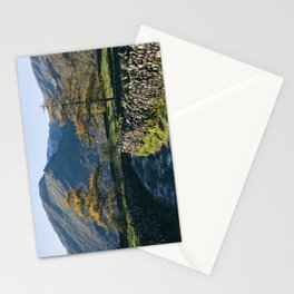 Larch trees and remote road to Thorneythwaite Farm, Borrowdale. Lake District, UK. Stationery Cards