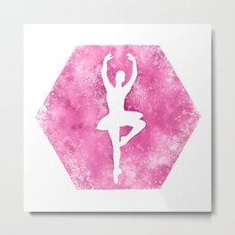 Ballet Dancer Silhouette in Hot Pink Metal Print