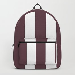 Deep Tuscan red purple - solid color - white vertical lines pattern Backpack